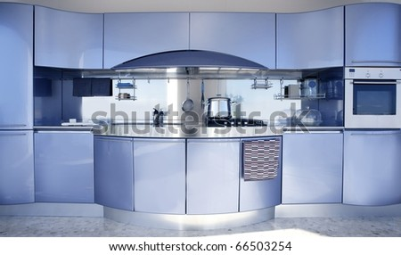 Blue silver kitchen modern architecture decoration interior design - stock photo