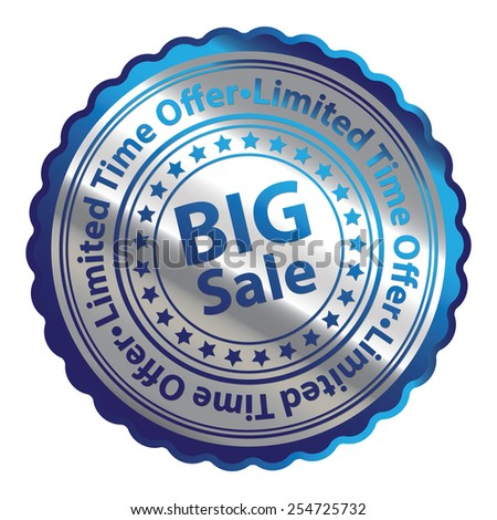 Blue Silver Metallic Big Sale Limited Time Offer Icon, Button, Label, Sign or Sticker Isolated on White Background  - stock photo