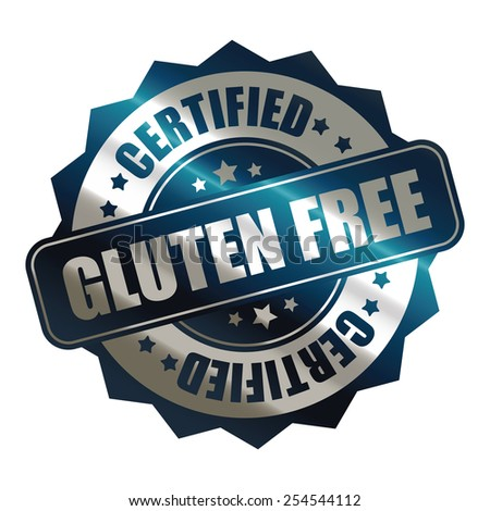 blue silver metallic gluten free certified sticker, banner, sign, icon, label isolated on white - stock photo