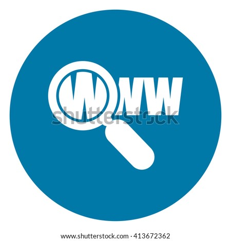 Blue Simple Circle Magnifying Glass With WWW Infographics Flat Icon, Sign Isolated on White Background