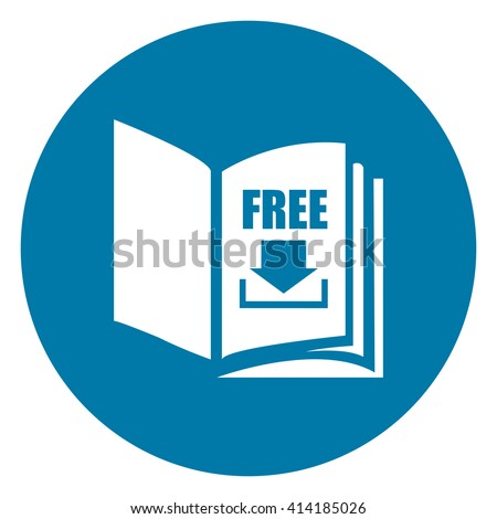 Blue Simple Circle Open Book With Free Download Infographics Flat Icon, Sign Isolated on White Background - stock photo