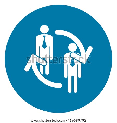 Blue Simple Circle Staff Turnover Infographics Flat Icon, Sign Isolated on White Background  - stock photo