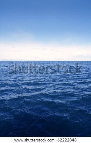 Blue simple clean seascape sea view in vertical - stock photo