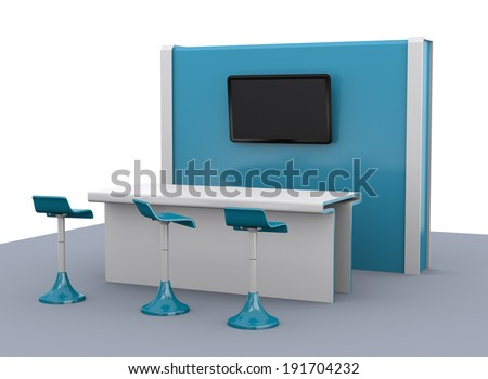 blue simple stand or booth in a trade show. 3d render - stock photo