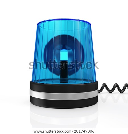 Blue Siren isolated on white background - stock photo