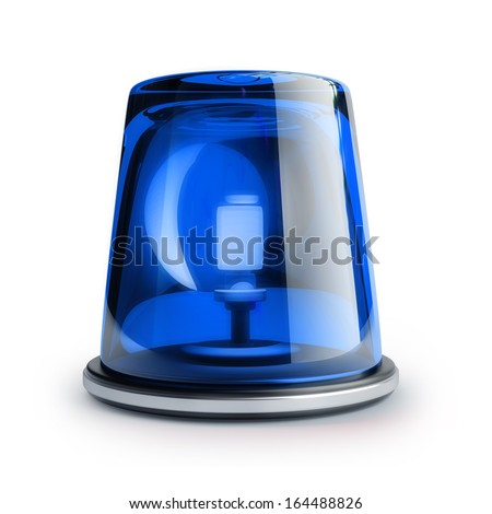 Blue siren isolated on white background High resolution 3d  - stock photo
