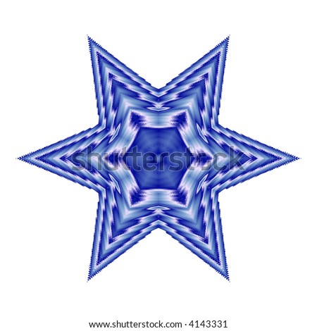 blue six pointed star on white background - stock photo