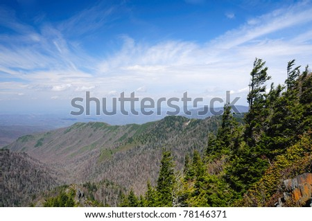 Blue skies near Charlie's Bunion on the Appalachian trail in the Smoky Mountains - stock photo