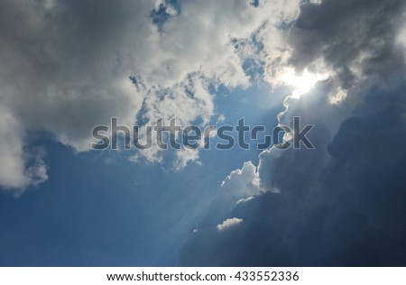 blue skies with white clouds - stock photo