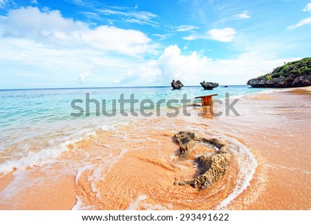 Blue sky and a nice beach, Okinawa, Japan - stock photo