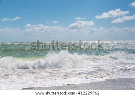 Blue sky and Atlantic ocean view in the morning - stock photo