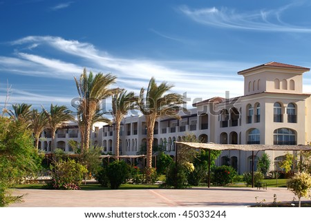 Blue sky and beauties hotel in Sharm El Sheikh,Egypt - stock photo