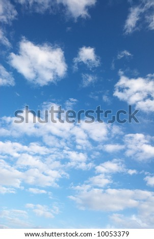 blue sky and beautiful fluffy white clouds, perfect replacement for boring skies - stock photo