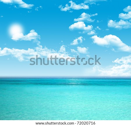 Blue sky and blue sea. - stock photo