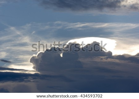 Blue sky and cloud closeup background