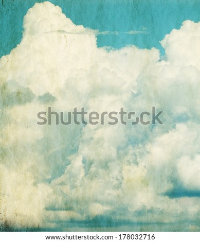 Blue sky and clouds. Vintage background