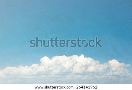 Blue sky and clouds with copy space, Grunge style - stock photo