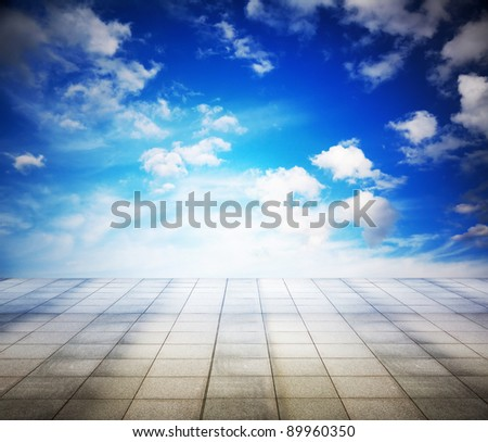 blue sky and grey floor, background