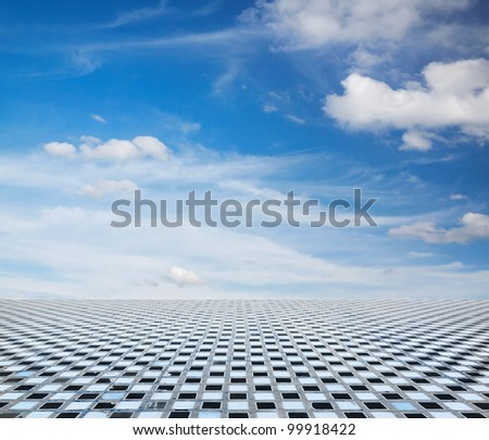 blue sky and grey floor, background - stock photo