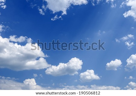 Blue sky and lots small clouds. Abstract background. - stock photo