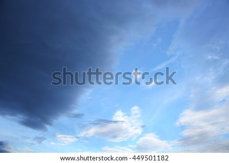 blue sky and raincloud dark  motion beautiful, soft cloud white in nature for background