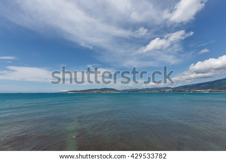 Blue Sky And Sea in sunny day - stock photo