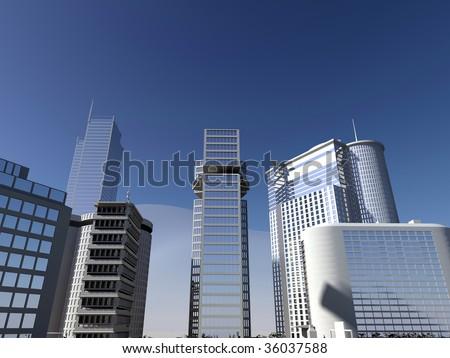 blue sky and skyscraper - stock photo
