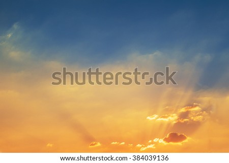 blue Sky and sunset background - stock photo