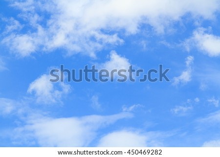 Blue sky and white cloud on summer. Good weather day background with copy space. - stock photo