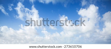 Blue sky and white clouds, abstract panoramic nature photo background - stock photo