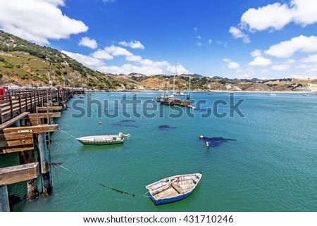 Blue sky and white clouds aquamarine sea abound at san luis obispo