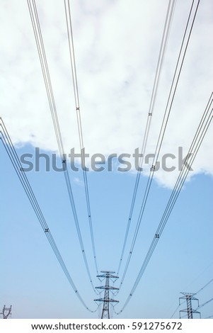 Blue sky and white clouds under the high-voltage lines