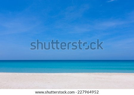 Blue sky and white sand at a beach in Sabah, East Malaysia, Borneo - stock photo