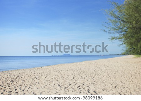 blue sky and white sand beach in tropic of Asia - stock photo