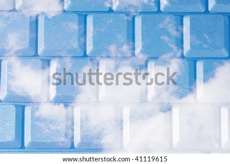 Blue sky as a computer keyboard - stock photo