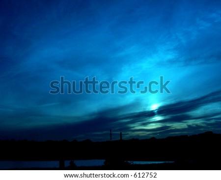 blue sky at twilight - stock photo