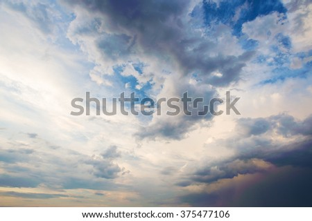 Blue sky background with a lot of white clouds. Blue sky panorama with cloud closeup.