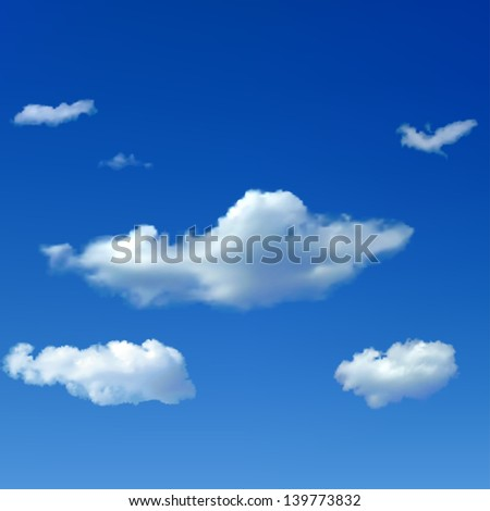 Blue sky background with big and small clouds. Raster version. - stock photo