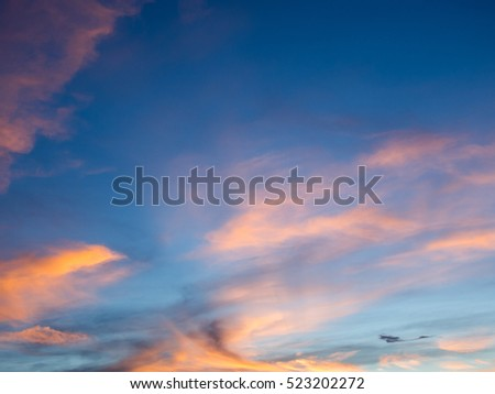 blue sky background with cloud in twilight time
