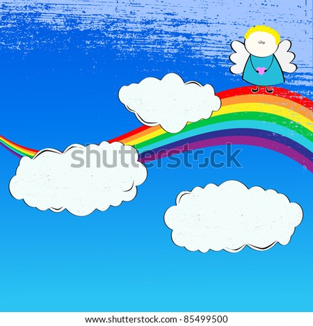 Blue Sky background with clouds, angel and rainbow - stock photo