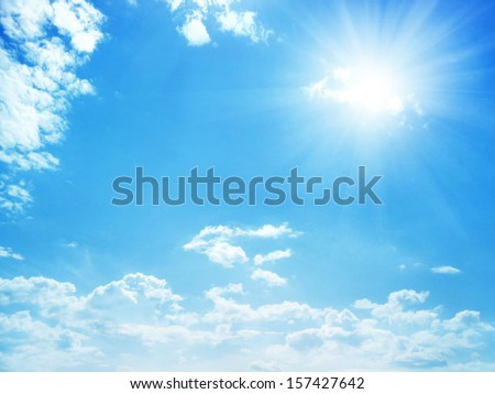 blue sky background with tiny clouds - stock photo