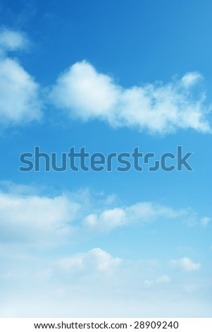 blue sky background with white clouds. Ideal for nature,health,sport or holiday designs - stock photo