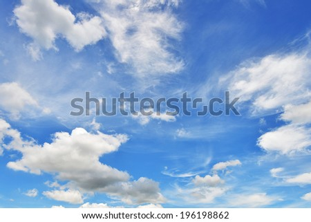 blue sky background with white clouds in summer