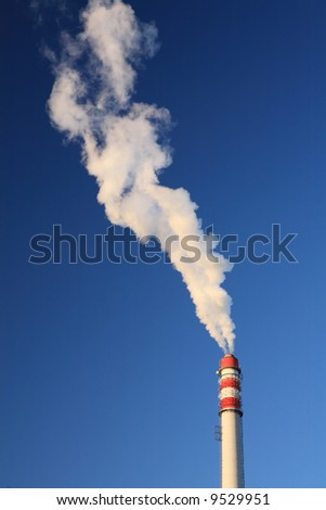 blue sky chimney environment in danger smoke exhaust ecology industrial climate pollution