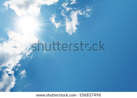 blue sky, cloud and sun - stock photo