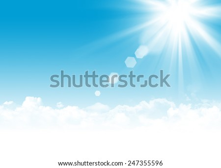 Blue sky, clouds and sun abstract background illustration with copy space - stock photo