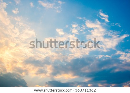 blue sky, Colorful sky and sunrise. Natural landscape