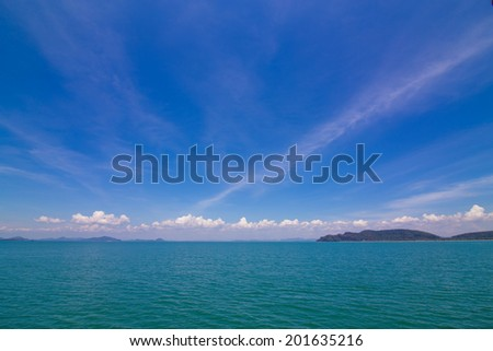 Blue sky expanse of the sea and white clouds, sea scape