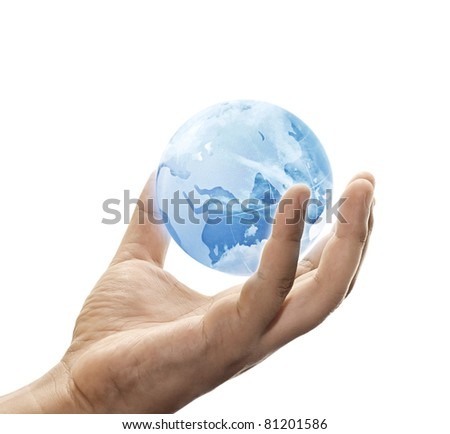 blue sky globe on hand over white background - stock photo