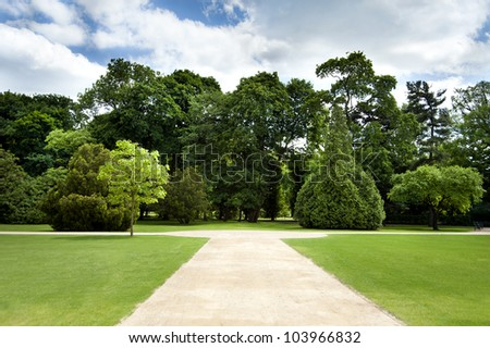 blue sky in park with road - stock photo